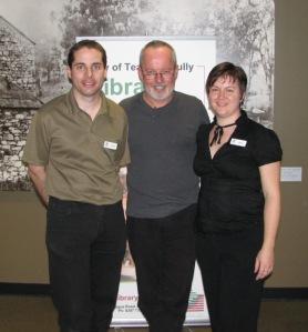 Michael Robotham with Library staff, Symon and Benita