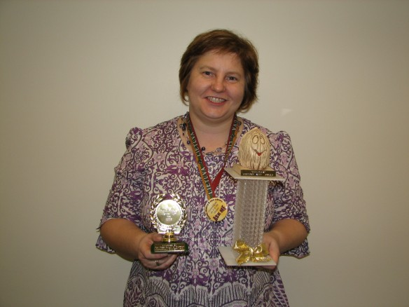Daina with her trophies