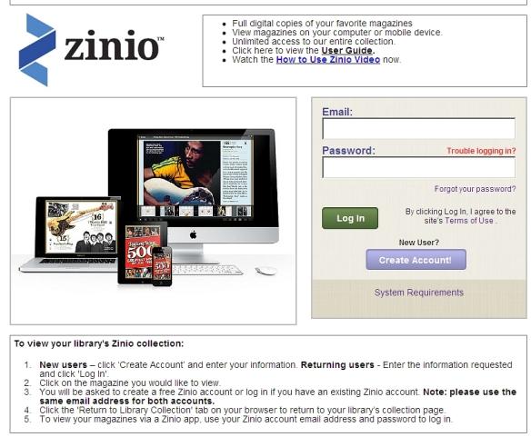 Zinio landing page