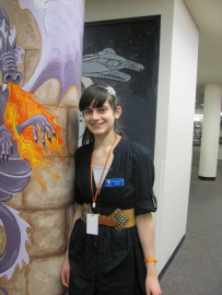 Work Experience Student Stephanie checking out the Library's Teen Area