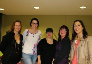 L-R: Heather Taylor Johnson, Bronwyn Stuart, Eleni Konstantine, Maggie Mundy and Carla Caruso.