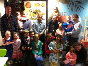 Author Phil Cummings with dads and kids at the Tea Tree Gully Libray's Dad's Read Event on 9 July.