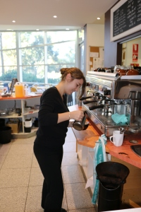 Barista and Topiary Pantry Manager Liz prepares her milk froth...