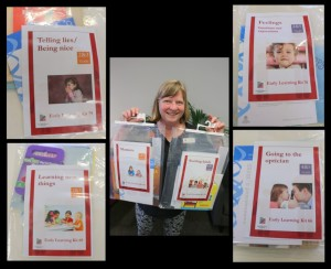 Julie, our Children's Librarian with some of our new early learning kits.