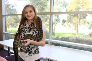 Work Experience Student, Jemma, making a new friend