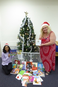 Eleanor and Jenifer from the Tea Tree Gully Salvation Army receiving our books. They will be distributed to needy children