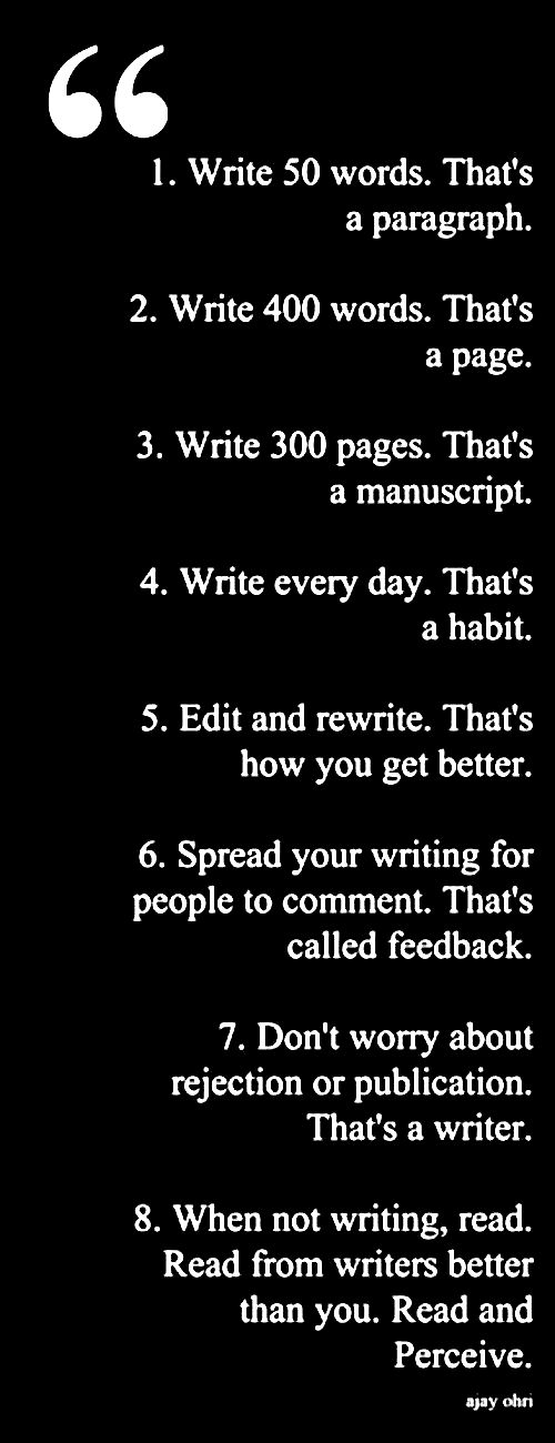 The best way to become a writer is to start writing.