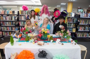 Work Experince Student, Natasha(top left hand side), enjoying the Alice in Wonderland themed photo shoot.