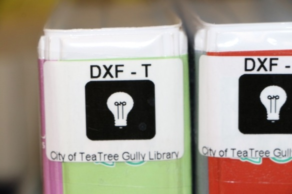 Stickers on the Dyslexia Friendly Books in the Teen Area