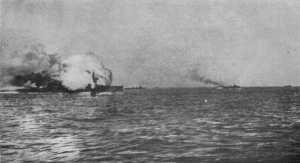 HMS Invincible explodes