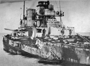 The badly damaged German battlecruiser Seydlitz