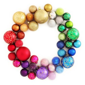 Christmas rainbow wreath decoration on white