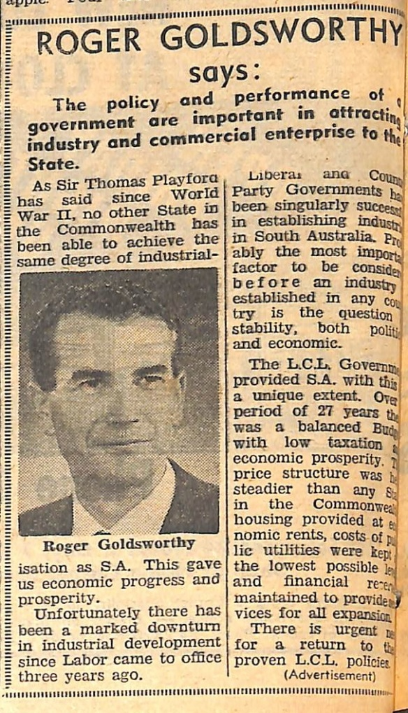 Roger Goldsworthy advertisement