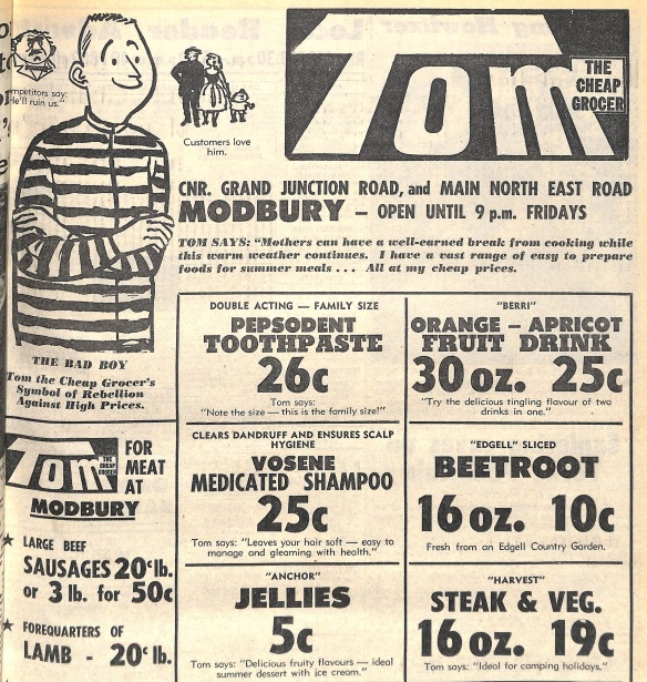Tom the Cheap advertisement 1967